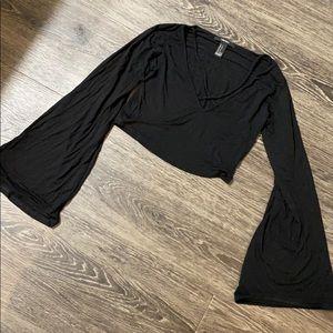 Black bell-sleeve crop top